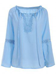 Panel Hollow Out Flare Sleeve Blouse -