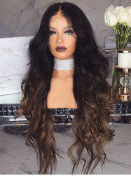 Synthetic Capless Long Ombre Wavy Wig -