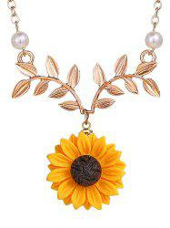 Sunflower and Branch Pattern Necklace -