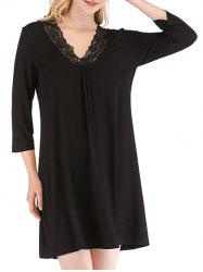 Lace Insert V-neck Sleeping Dress -