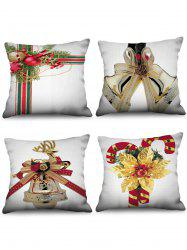 4PCS Christmas Bell Candy Cane Printed Pillow Cover -