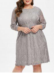 Plus Size Three Quarter Sleeve Lace Dress -