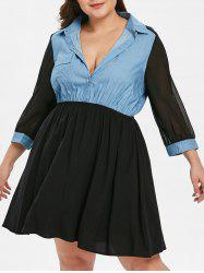 Plus Size Half Button Panel A Line Dress -