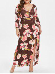 Plus Size Front Slit Floral Print Maxi Dress with Belt -