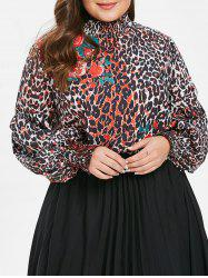 Leopard and Floral Print Plus Size Mock Neck Blouse -