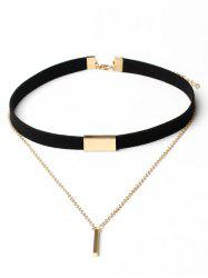 Geometric Layered Suede Design Choker Necklace -