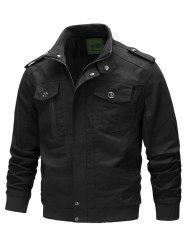 Front Pocket Stand Collar Zipper Military Jacket -