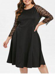 Lace Panel Raglan Sleeve Plus Size Dress -