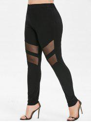 Plus Size High Waist Mesh Panel Leggings -