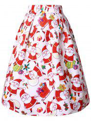 Christmas Plus Size High Rise Santa Claus Print Midi Skirt -