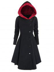 Plus Size Contrast Asymmetric Fleece Hooded Skirted Coat -