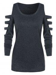 Ladder Cut Out Open Shoulder T-shirt -