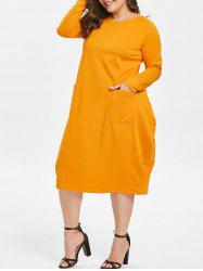 Round Neck Plus Size Front Pockets Midi Dress -