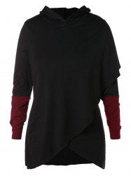Plus Size Hit Color Wrap Hoodie -