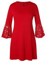 Plus Size Lace Panel Flare Sleeve Trapeze Dress -