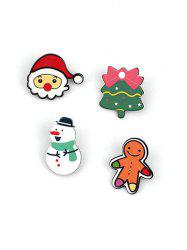 4Pcs Christmas Cookie Pattern Brooches Set -