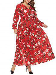 Plus Size V Neck Floral Surplice Maxi Dress -