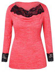 Plus Size Lace Trim Space Dyed T-shirt -