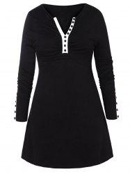Plus Size Slit Sleeve Buttoned T-shirt -