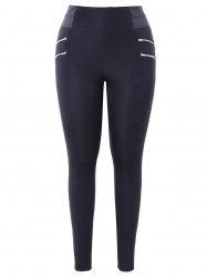 Plus Size Zips Embellished Elastic Waist Leggings -