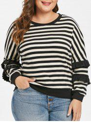 Plus Size Striped Ruffle Sweater -