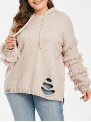 Plus Size Hooded Distressed Slit Sweater -