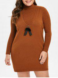 Plus Size Mock Neck Top with Sweater Vest Dress -