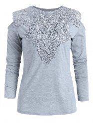 Open Shoulder Lace Insert T-shirt -