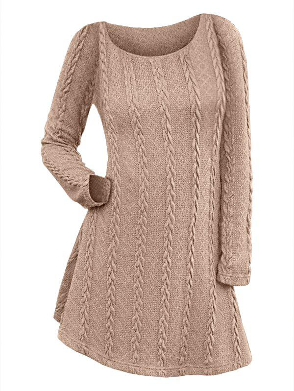 Chic Long Sleeve Cable Knit Dress