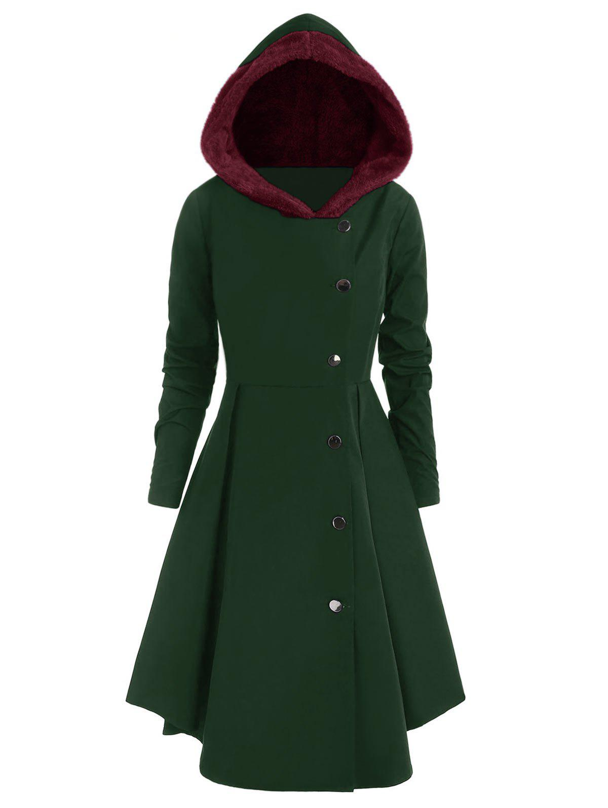Plus Size Contrast Asymmetric Hooded Skirted Coat, Dark green