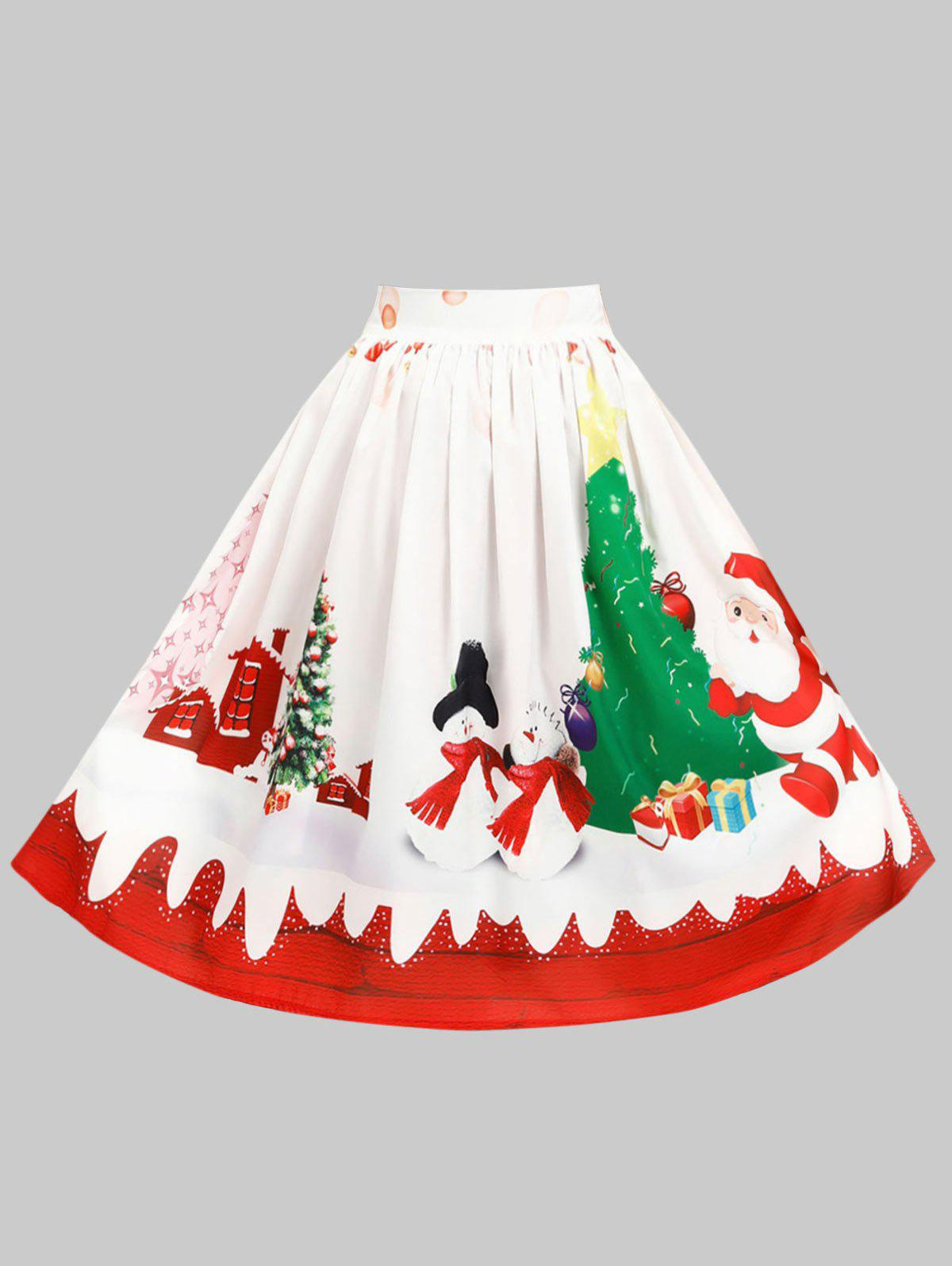 Online Plus Size Christmas Pattern Knee Length Skirt