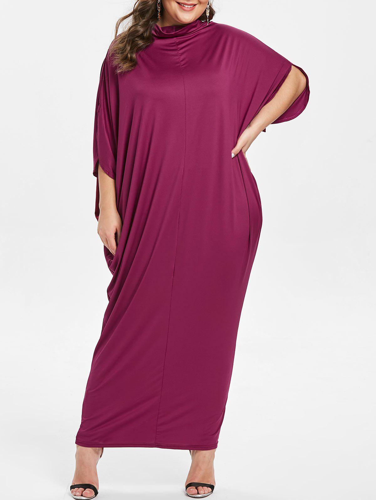 New Cowl Neck Plus Size Slit Sleeve Maxi Dress