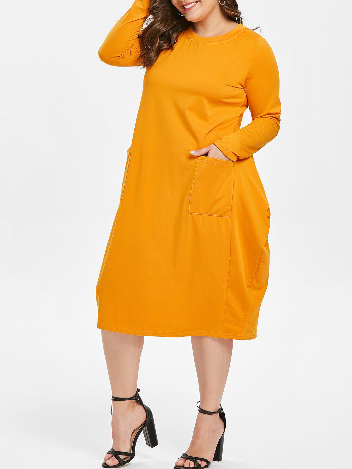 Cheap Round Neck Plus Size Front Pockets Midi Dress