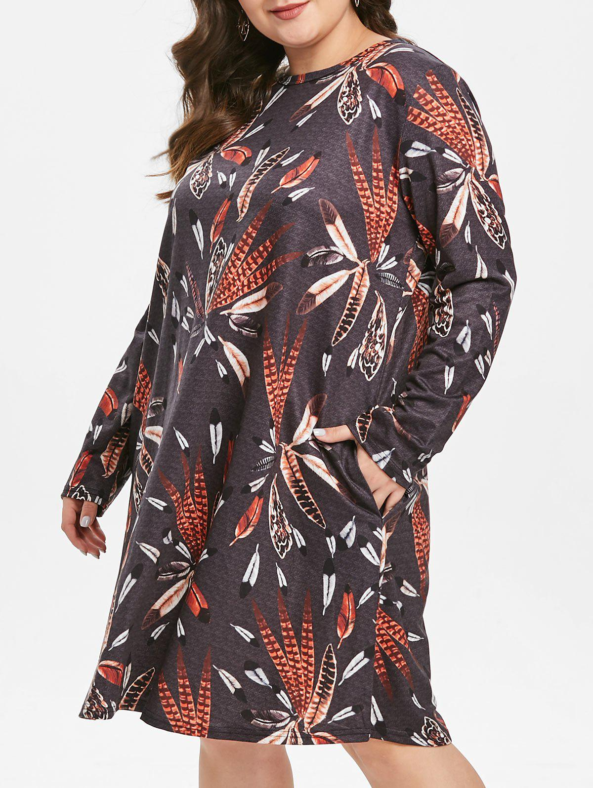Discount Plus Size Pockets Feather Printed Long Sleeves Dress