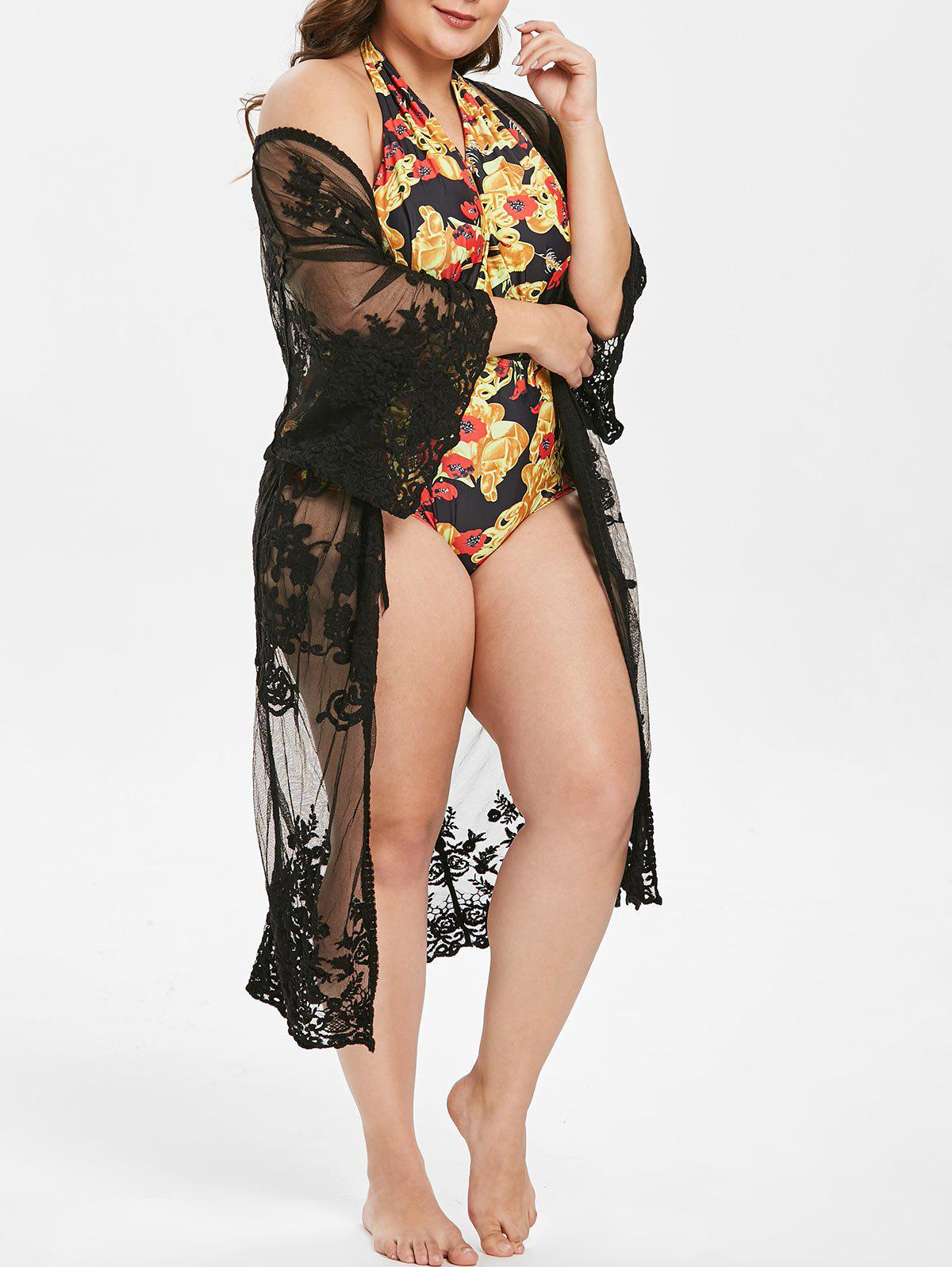 Hot Floral Lace Open Front Plus Size Cover Up