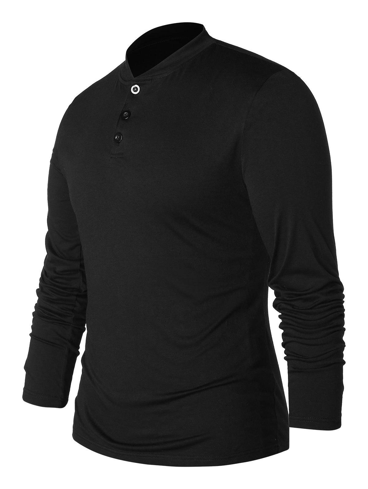 Buy Half Button Stand Collar T-shirt
