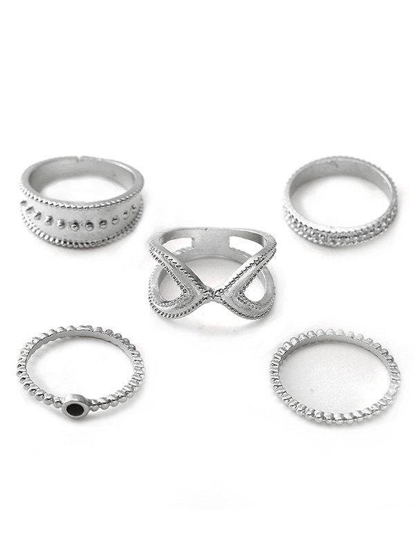 Latest 5pcs X Shape Hollow Rings Set