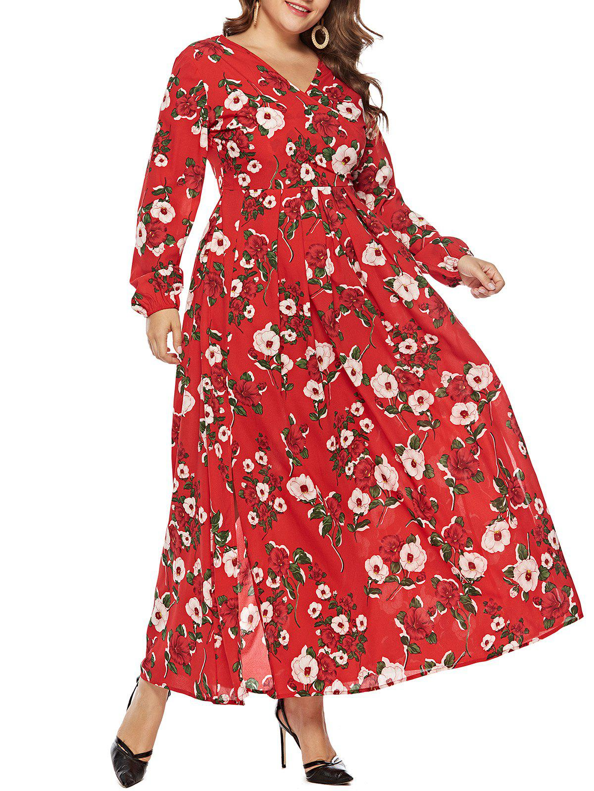 Fashion Plus Size V Neck Floral Surplice Maxi Dress