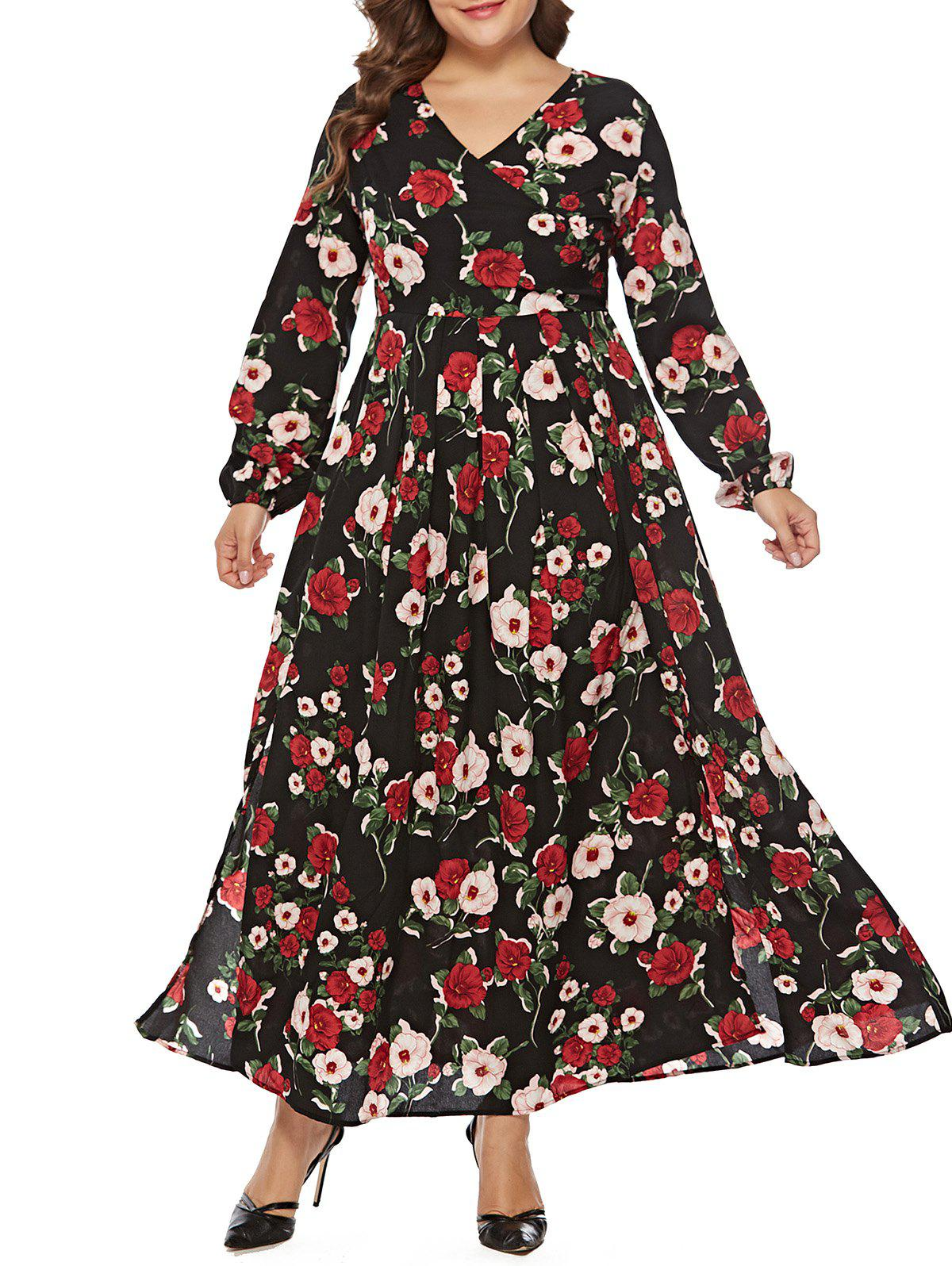 Hot Plus Size V Neck Floral Surplice Maxi Dress