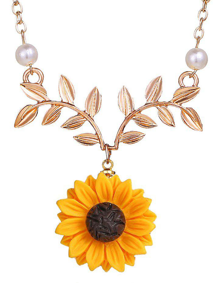 Chic Sunflower and Branch Pattern Necklace