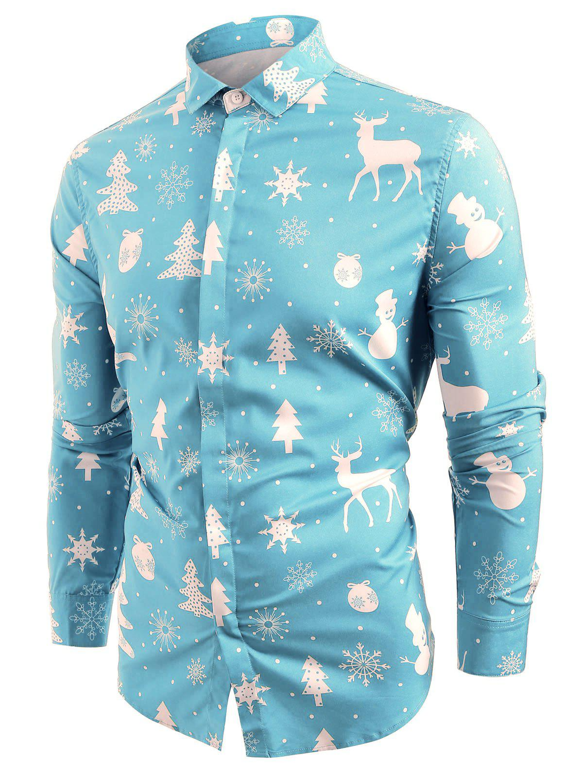 Online Christmas Elements Print Hem Curved Button Up Shirt