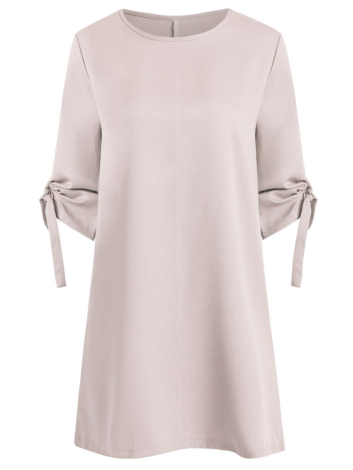 Sale Knotted Sleeve Casual Shift Dress