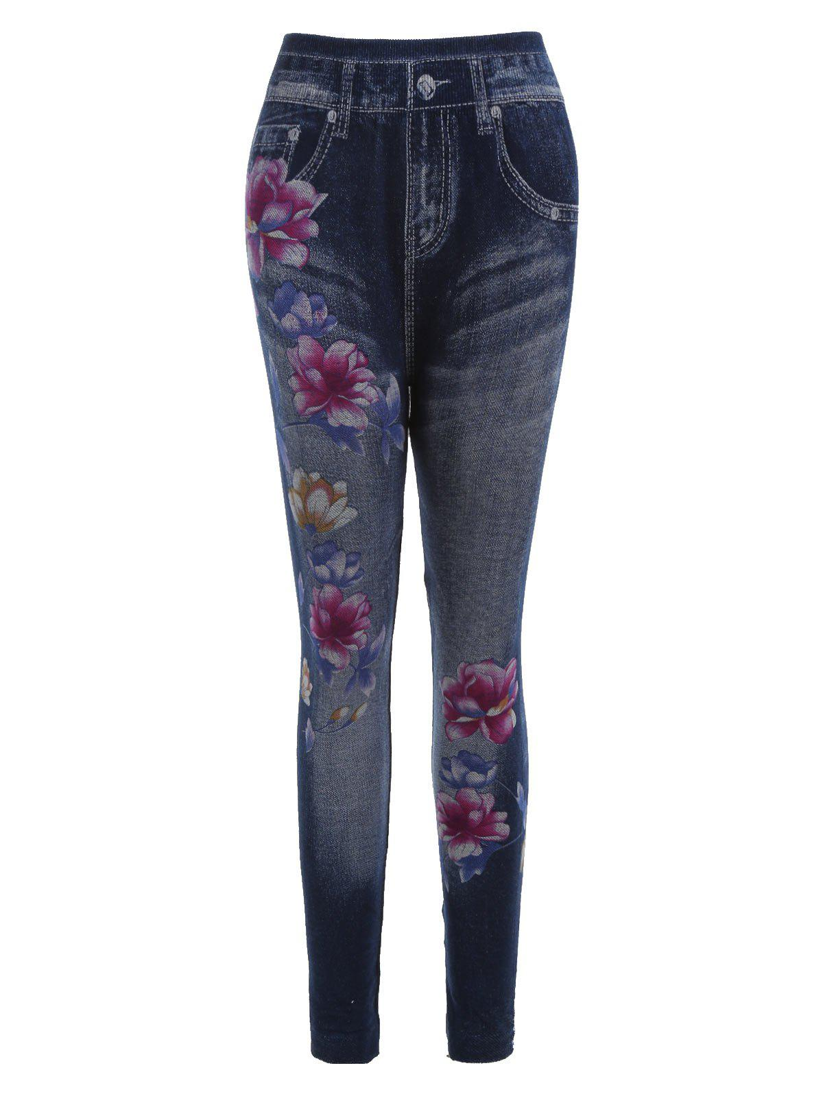 dc01008bcf29b 45% OFF] Lotus Flower Print Faux Denim Leggings | Rosegal