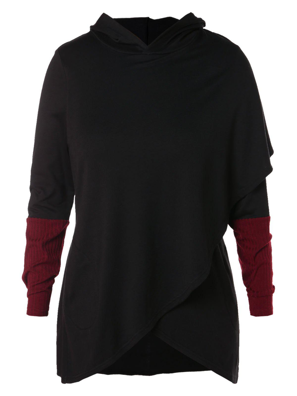 Outfit Plus Size Hit Color Wrap Hoodie