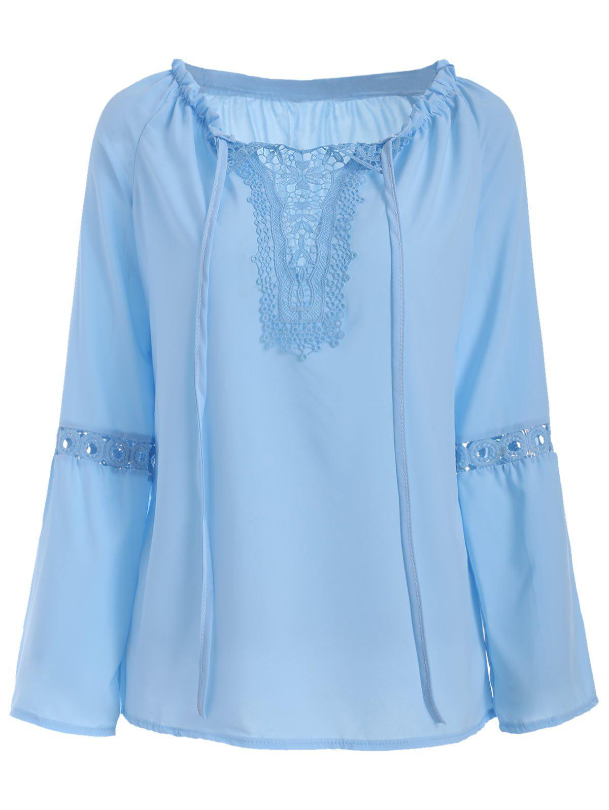 Hot Panel Hollow Out Flare Sleeve Blouse