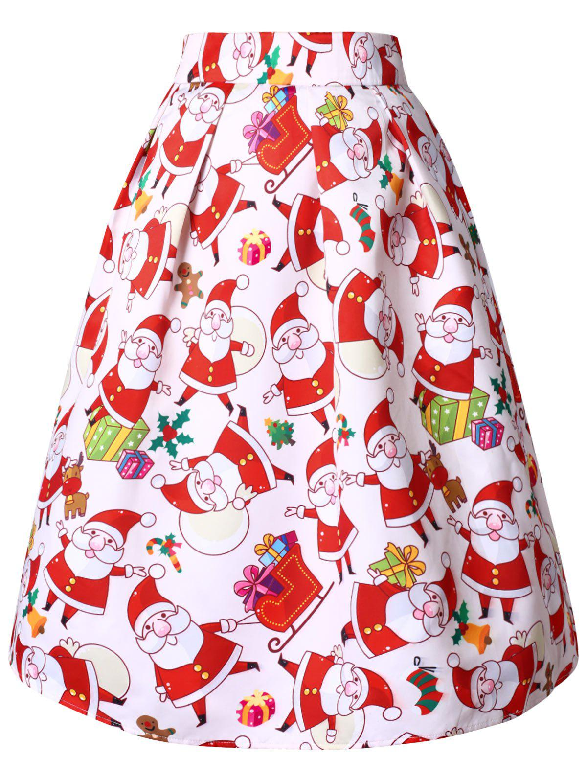 Shops Christmas Plus Size High Rise Santa Claus Print Midi Skirt