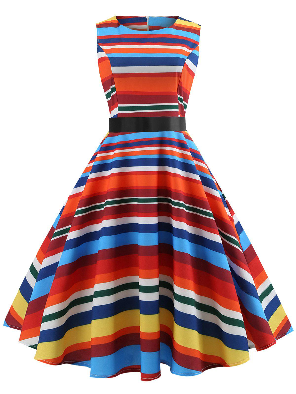 Online Colorful Striped Sleeveless Fit and Flare Dress