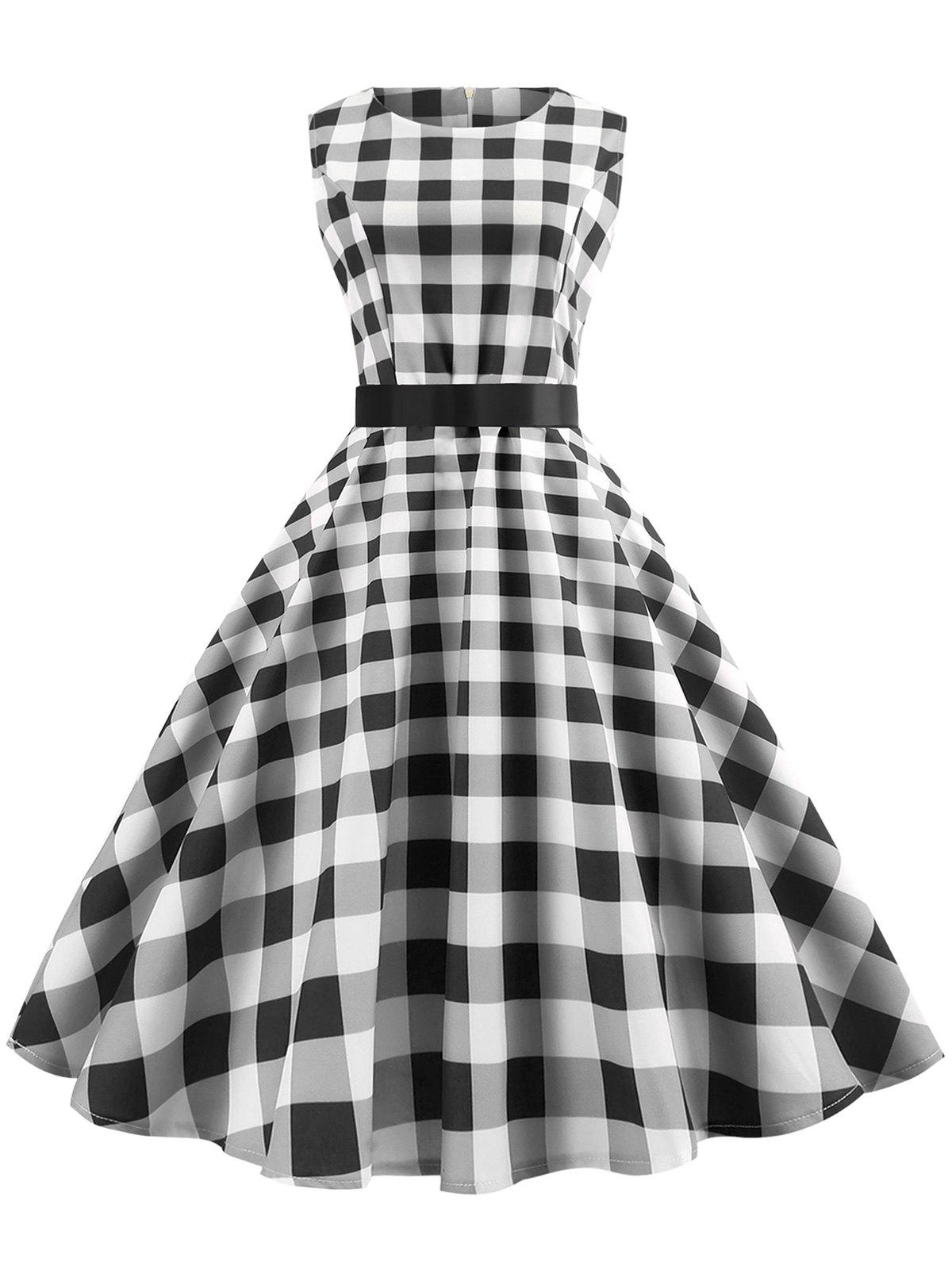 Trendy Plaid Sleeveless Fit and Flare Dress