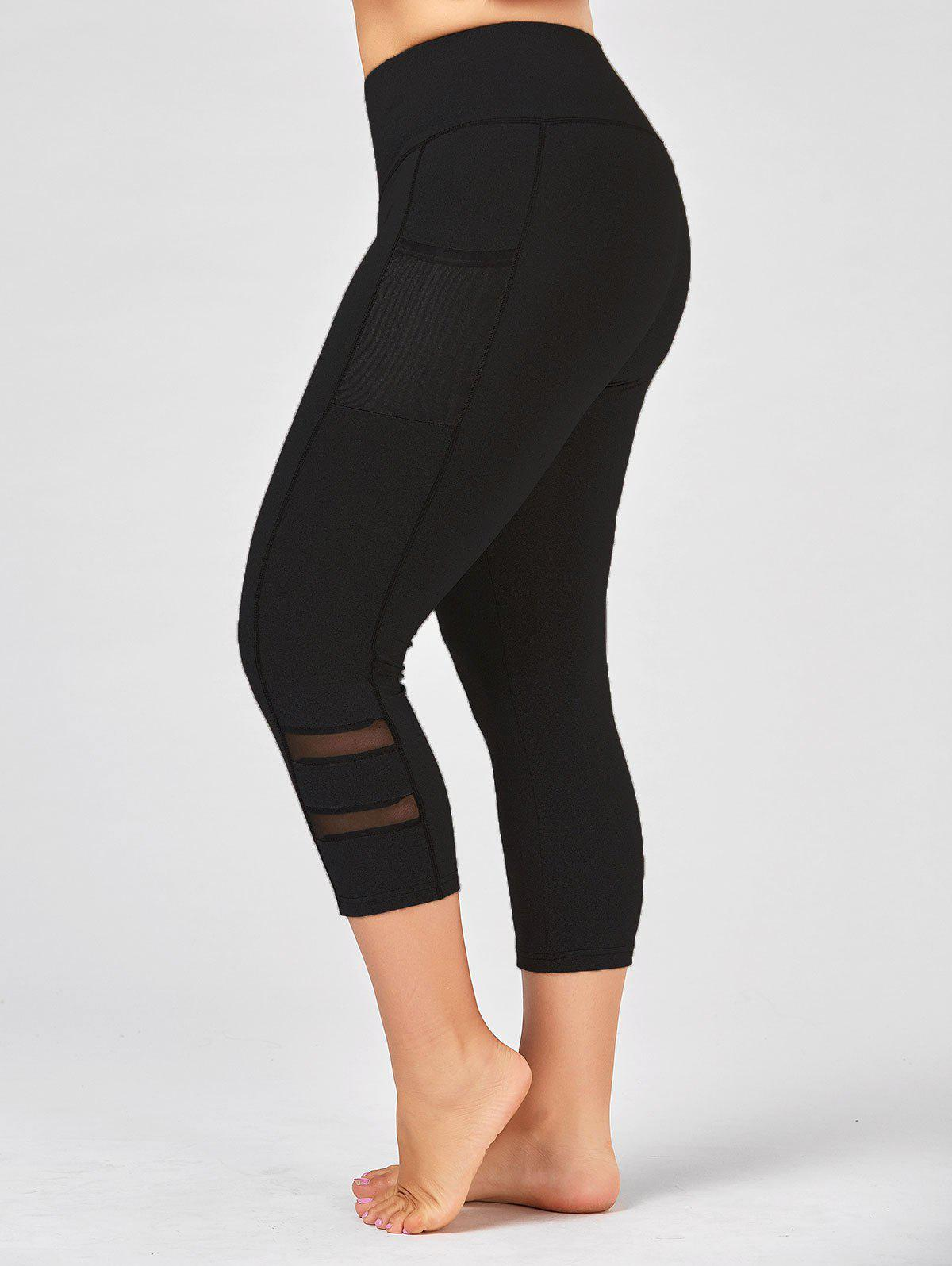 Hot Plus Size High Waist Fitness Leggings with Mesh Panel