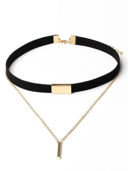 Outfits Geometric Layered Suede Design Choker Necklace